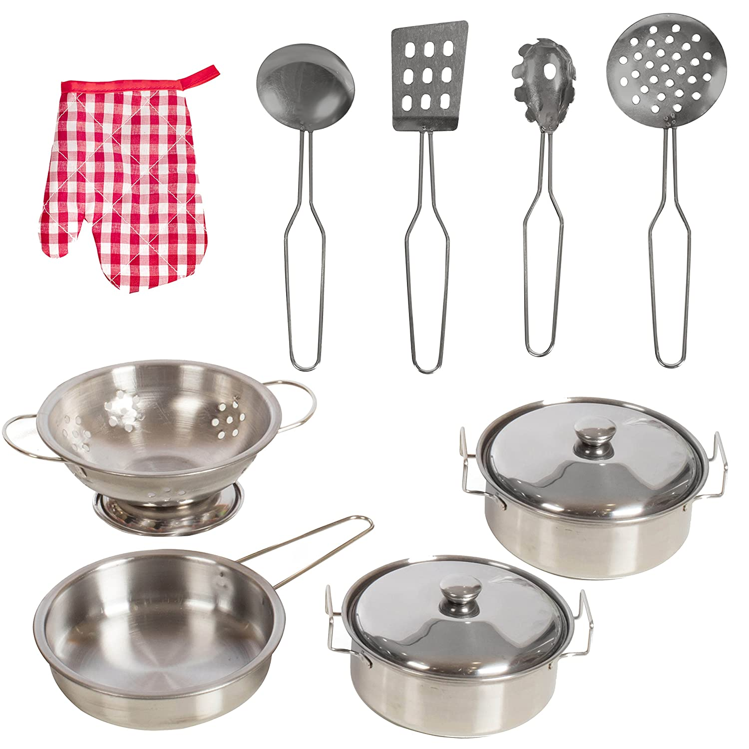 IQ Toys 11 Piece Durable Stainless Steel Pots, Pans, Strainer and Utensil Cookware Set for Pretend Play