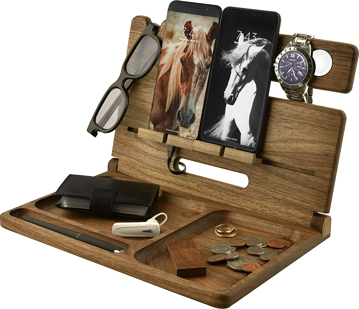 Natural Walnut Eco Wood Cell Phone Stand Watch Holder. Foldable Men Device Dock Accessory Organizer. Mobile Base Nightstand Charging Docking Station. Wooden Storage Funny Birthday Bed Side Caddy Valet