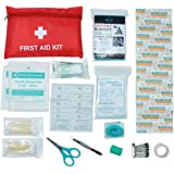 Premium Mini Small First Aid Kit Bag 63 piece - Includes Emergency Blanket, CPR face mask, Scissors for Travel, Home, Office, Car, Camping, Workplace