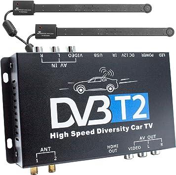 XOMAX Receptor DVB-T2 para automóvil, H.265 HEVC TV Box y funcionamiento de 12 V, sintonizador dual con 2 antenas, función de grabación con mando a ...