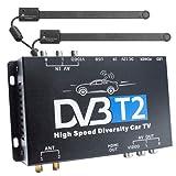 XOMAX DVB-T2 Receiver für Auto Kfz, H.265 HEVC, TV Box mit 12V Betrieb, Dual Tuner mit 2 Antennen (aktiv, je 20 dB), bis 160 km/h, HDMI Anschluss, USB-Anschluss, FULL HDTV, PVR Aufnahmefunktion, inkl. Fernbedienung und externem IR-Empfänger