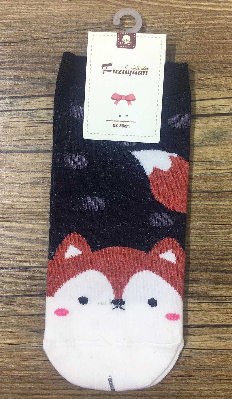 4 pair Cute Womens Fashion Girl Socks Kawaii Animal Print Cotton Cartoon Sock gifts at Amazon Womens Clothing store: