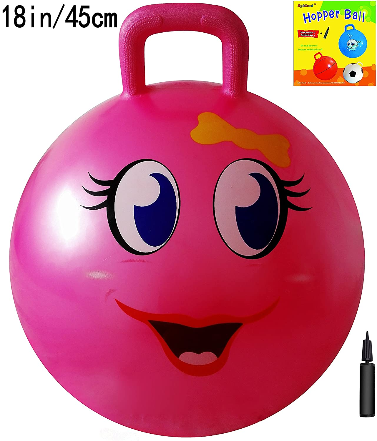 AppleRound Space Hopper Ball with Pump 18in 45cm Diameter for Ages 3 6 Hop Ball Kangaroo Bouncer Hoppity Hop