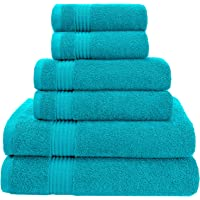 AmericanVeteranTowel Hotel & Spa Quality Super Absorbent & Soft, 6 Piece Turkish Towel Set for Kitchen & Decorative Bathroom Sets Includes 2 Bath Towels 2 Hand Towels 2 Washcloths, Aqua