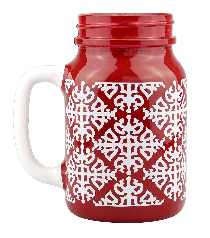 Buy Top Shelf TS-6092WB Mason Jar, Rowdy Red and White