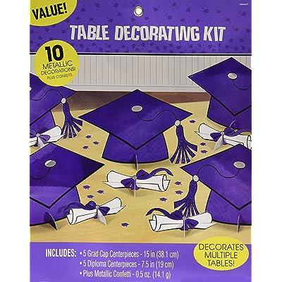 Amscan 240211.106 Graduation Kit Table Decoration, Multi Sizes, Purple: Kitchen & Dining