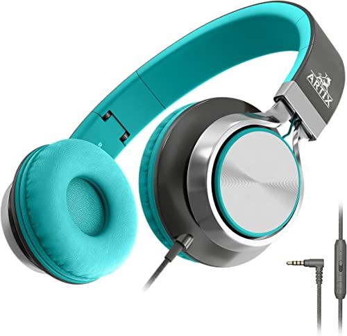 Artix CL750 Foldable Headphones with Microphone and Volume Control, On-Ear Stereo Earphones, Headset for Cellphones Tablets Smartphones Laptop Computer for Adults, Teens, Kids Mint Gray