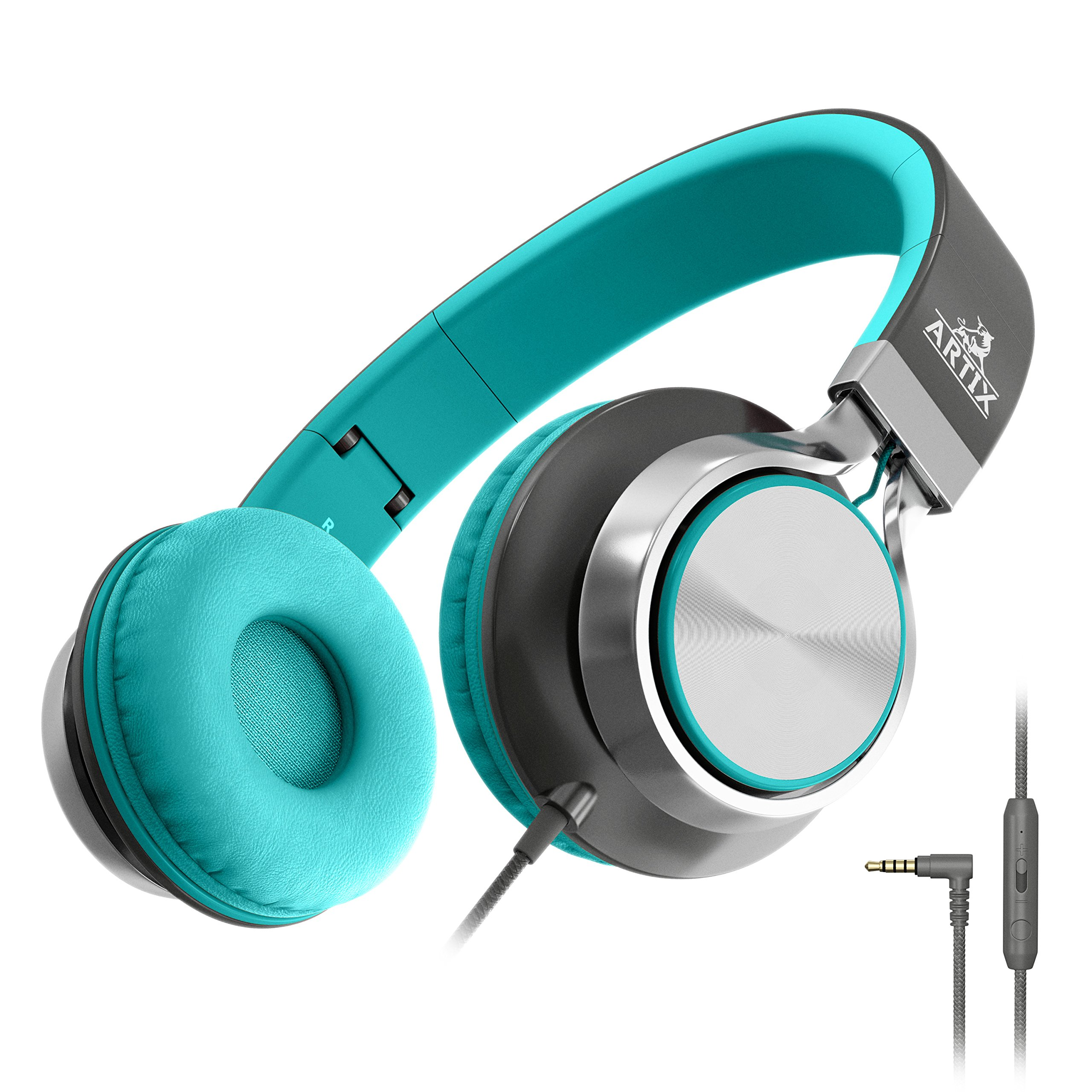 Artix CL750 Foldable Headphones with Microphone and Volume Control, On-Ear Stereo Earphones, Headset for Cellphones Tablets Smartphones Laptop Computer (Mint/Gray) by ARTIX