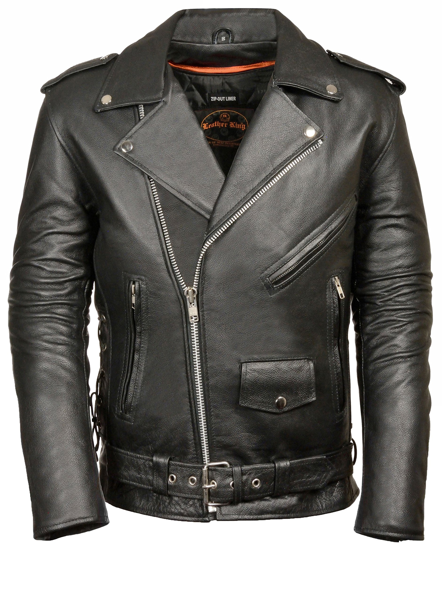 Mens Leather Side Lace Police Style Motorcycle Jacket - Tall