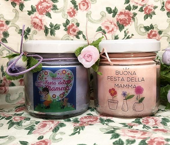 Regali Di Natale X Mamma.Festa Della Mamma 2 Vasetti Con Candele Di Cera Di Soia E Oli