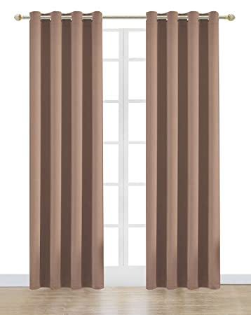 Onlyyou Window Treatment Thermal Insulated Solid Grommet Blackout Curtains  / Drapes For Bedroom (One Pair