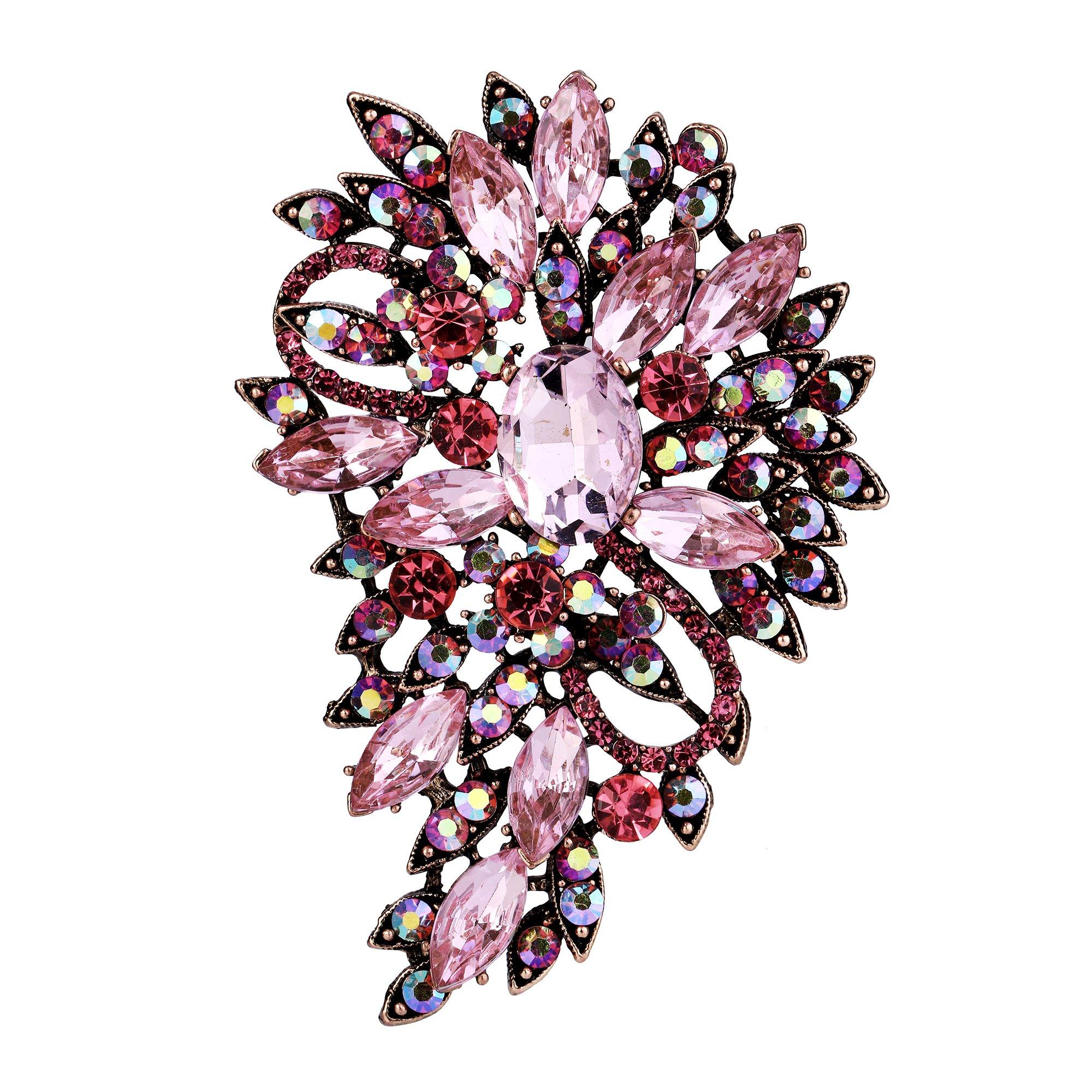 EVER FAITH Women's Austrian Crystal Wedding Flower Leaf Bouquet Brooch Pink Antique Gold-Tone