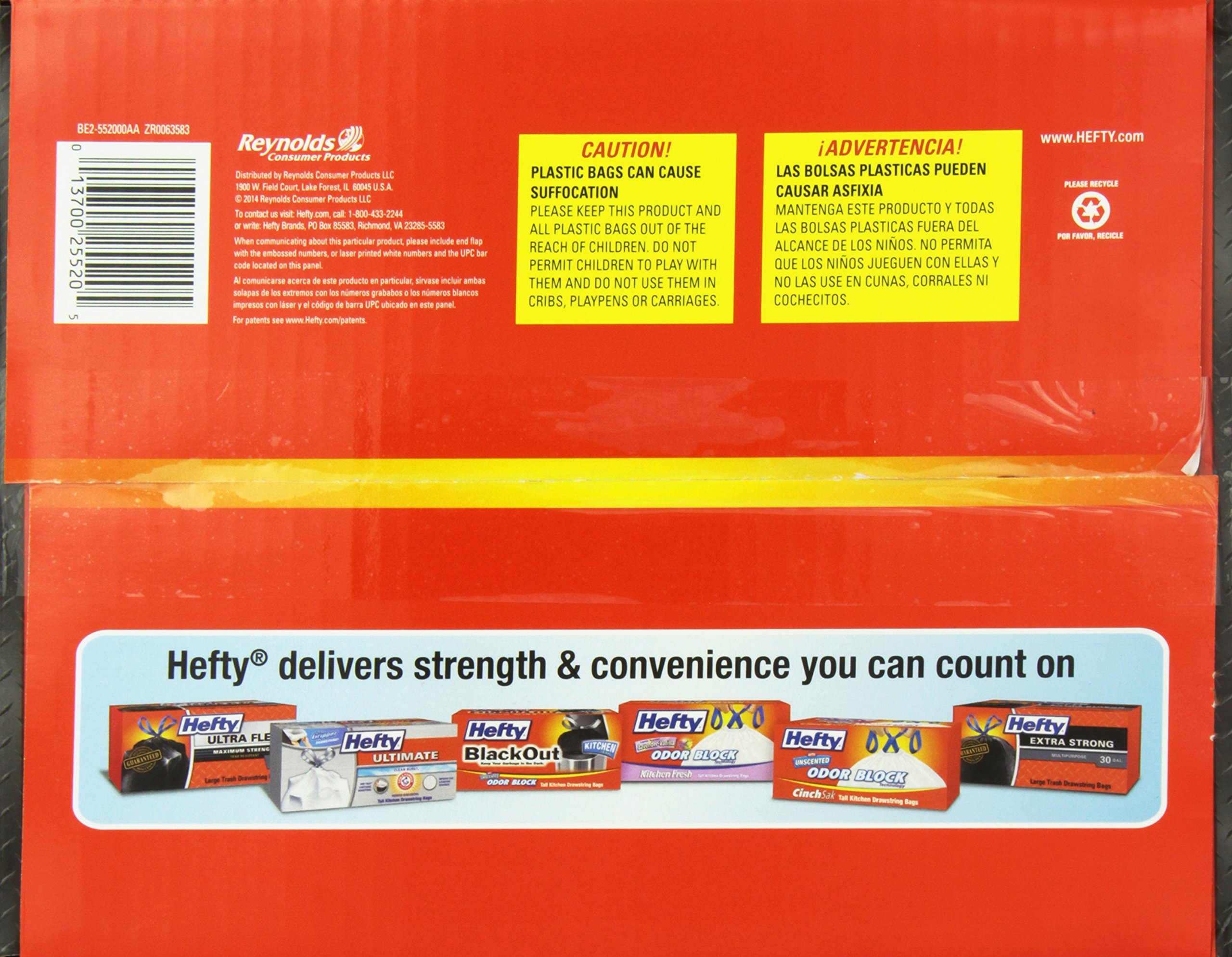 Hefty Heavy Duty Contractor Bags - 55 Gallon, 4 Packs of 18 Count (72 Total) by Hefty (Image #3)