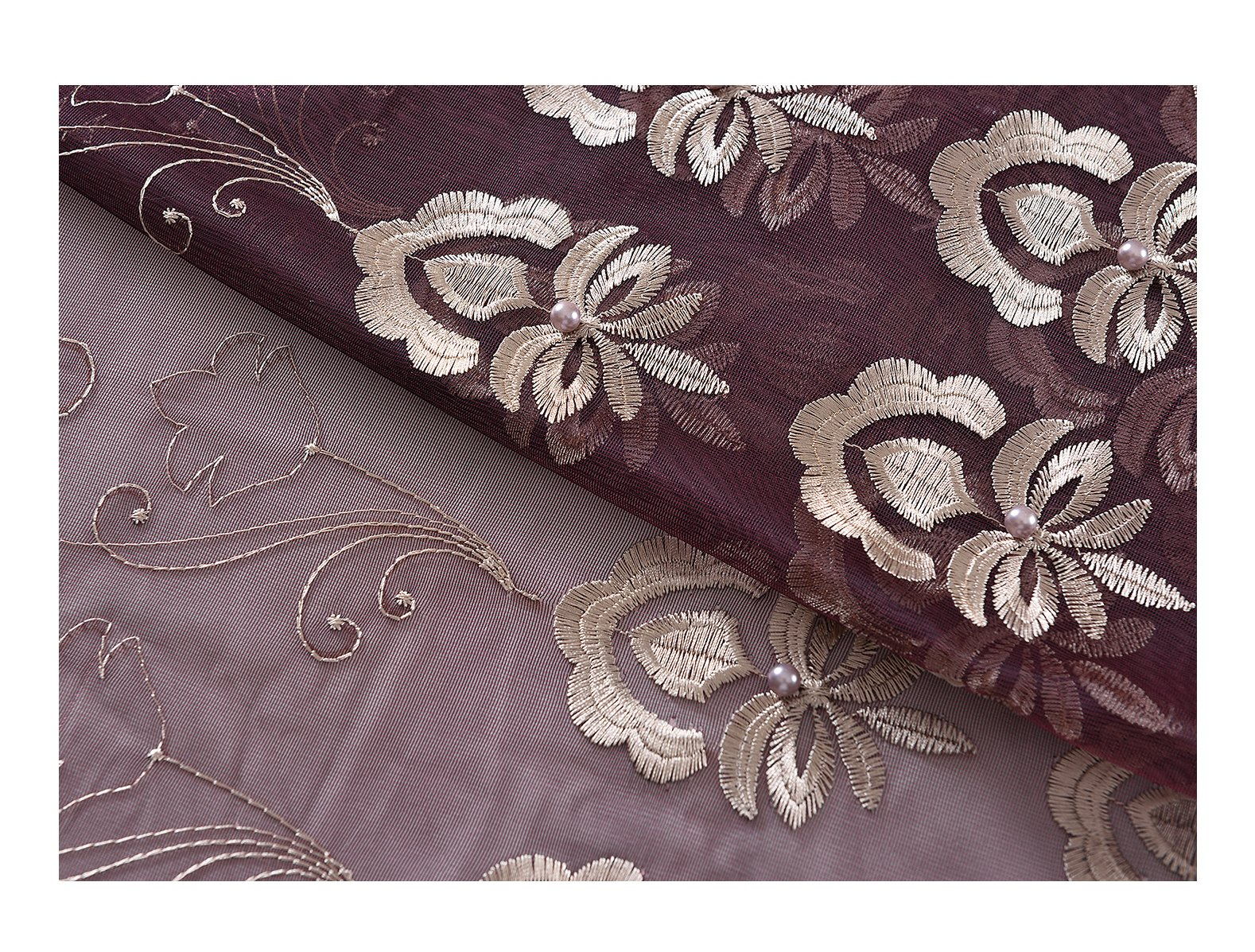 Aside Bside Rod Pocket Top Sheer Curtains with Beads Floral Array Embroidered Transparent Voile Drapes for Windows (1 Panel, W 52 x L 63 inch, Purple 12) -128163552638512C1PGC