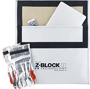 Newtex Z-Block Electronics 16'' x 18'' Fire Containment Bag Kit; Includes X20 High Temperature Aluminized Leather Gloves and Z-SIL Silica Fire Barrier Blanket