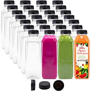 16 OZ Empty PET Plastic Juice Bottles - Pack of 35 Reusable Clear Disposable Milk Bulk Containers with Black Tamper Evident Caps Lids