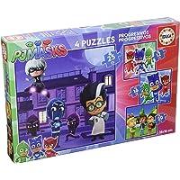 PJ Masks - Set de 4 Puzzles progresivos de 12, 16, 20 y 25 Piezas (Educa Borrás 17273)