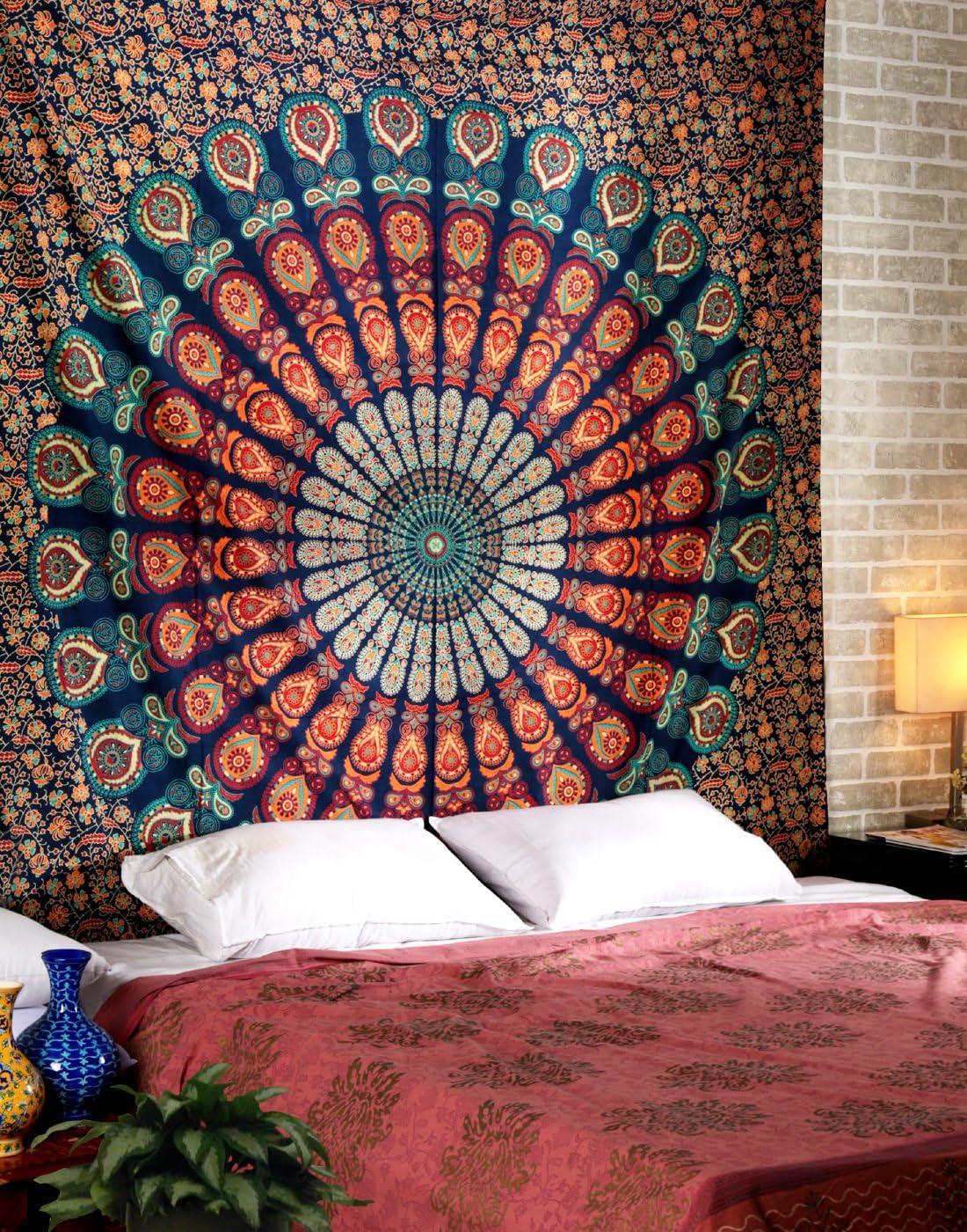 Peacock Mandala  Wall Hanging Bedspread Bedding Tapestry Beautiful Design Hippie