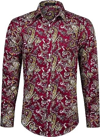 HISDERN Camisa Casual con Estampado Funky para Hombres Elegante diseño Floral Unico Algodón Regular Fit Camisas de Manga Larga para Hombres