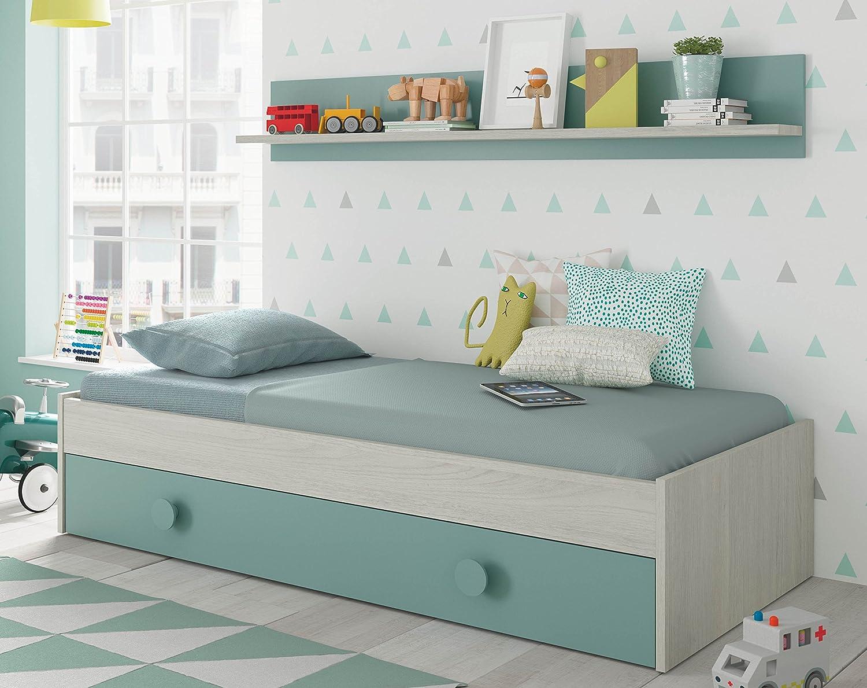 Miroytengo Cama Nido con Estante Color Verde y Blanco para somier 90x190 cm