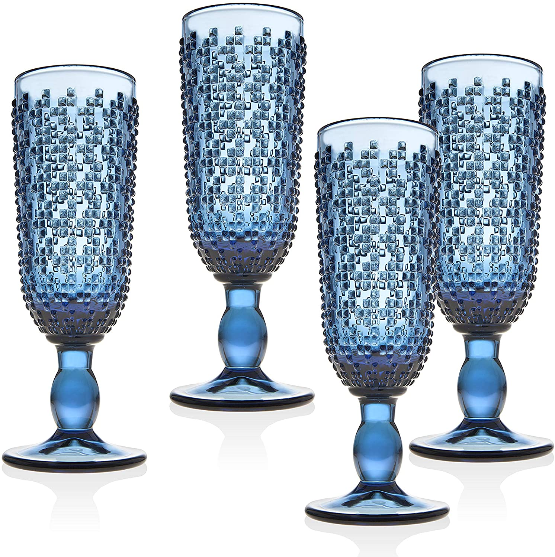 Champagne Flute Beverage Glass Cup Alba by Godinger – Blue – Set of 4
