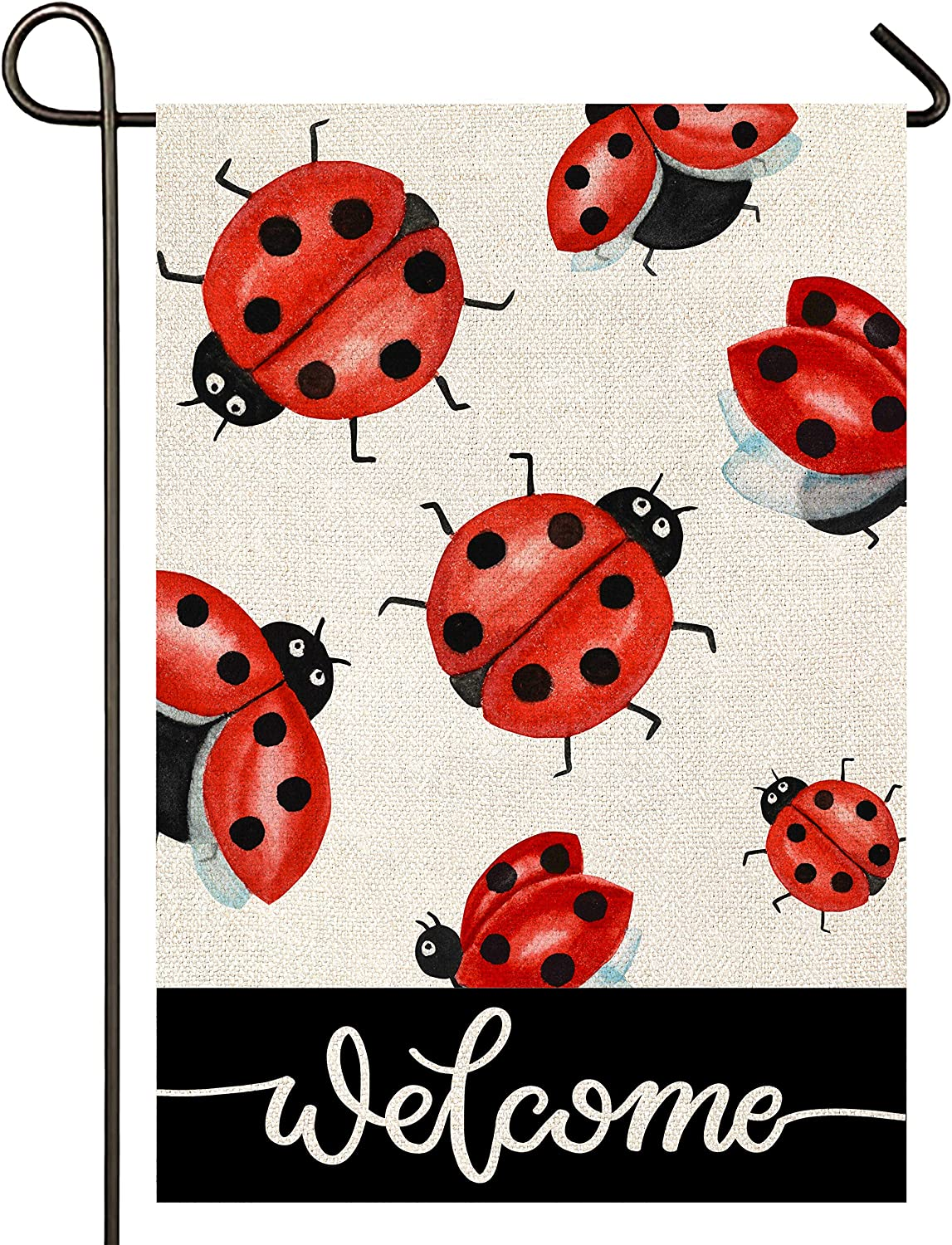 Atenia Ladybug Welcome Garden Burlap Flag, Double Sided Ladybug Welcome Sign Garden Outdoor Yard Flags for Summer Decor (Garden Size - 12.5X18)