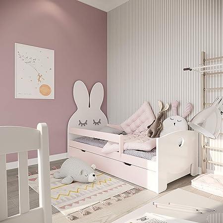 (140x70, rosado)NeedSleep® cama niño infantil con colchón | 140x80 160 x80 | montessori 2 años | cama con cajones | cama bebe cabeceros infantiles | ...