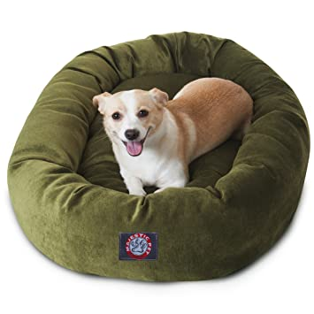 Amazon.com : 32 inch Fern Villa Collection Micro Velvet Bagel Dog Bed By Majestic Pet Products : Pet Supplies