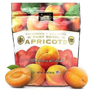 Traina Home Grown California Sun Dried Fancy Ruby Royal Apricots - Healthy, No Sugar Added, Non GMO, Gluten Free, Kosher Certified, Vegan, Value Size (20 oz)