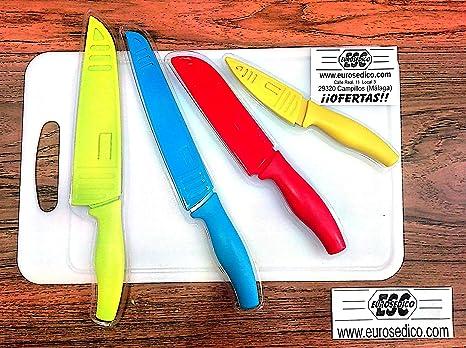 Compra EUROSEDICO / Set de 4 x Cuchillos + Tabla incluida ...