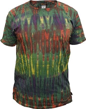 Gheri De los Hombres Algodón Tie Dye Festival Hippie Camiseta