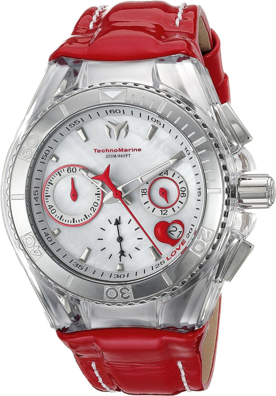 Technomarine Women s Cruise Stainless Steel Quartz Watch with Leather Calfskin Strap, red, 26 Model TM-115312