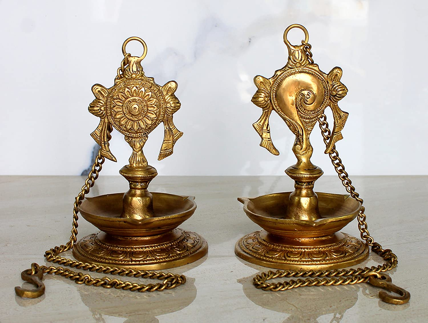 Brass-hanging-diya Lamp For Home and Office Pair Of Brass Hanging Diya Lamp For Home and Office Hanging Length 25.75 Hanging Length 25.75 Oil Lamp StonKraft Ideal Gift
