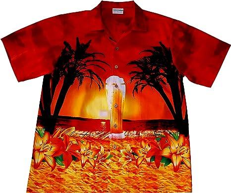 """Camisa Hawaiana/Hawaii Hombre """"Cerveza en la Playa"""" / 100% algodón/tamaño M – 6XL / Rojo: Amazon.es: Ropa y accesorios"""