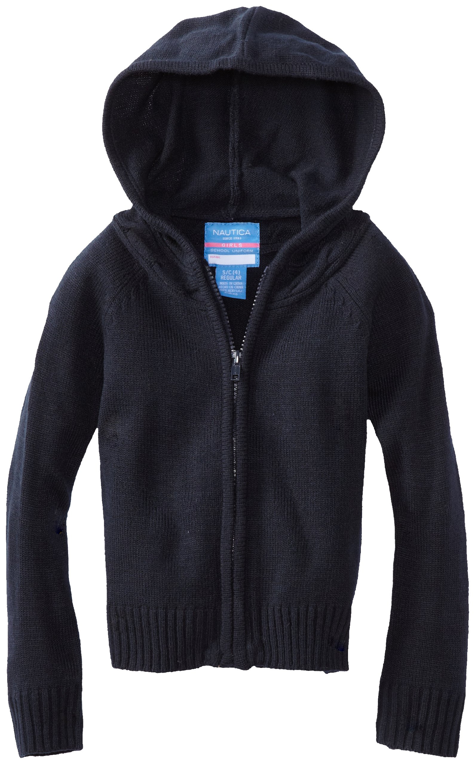 Nautica Little Girls'  Uniform Sweater Hoody, Navy, Small