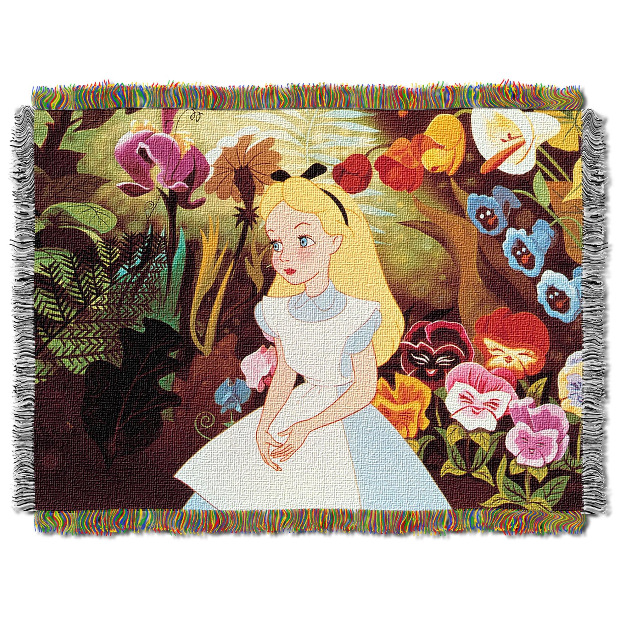 Disney Alice in Wonderland, ''Alice in the Garden'' Woven Tapestry Throw Blanket, 48'' x 60'' by Disney