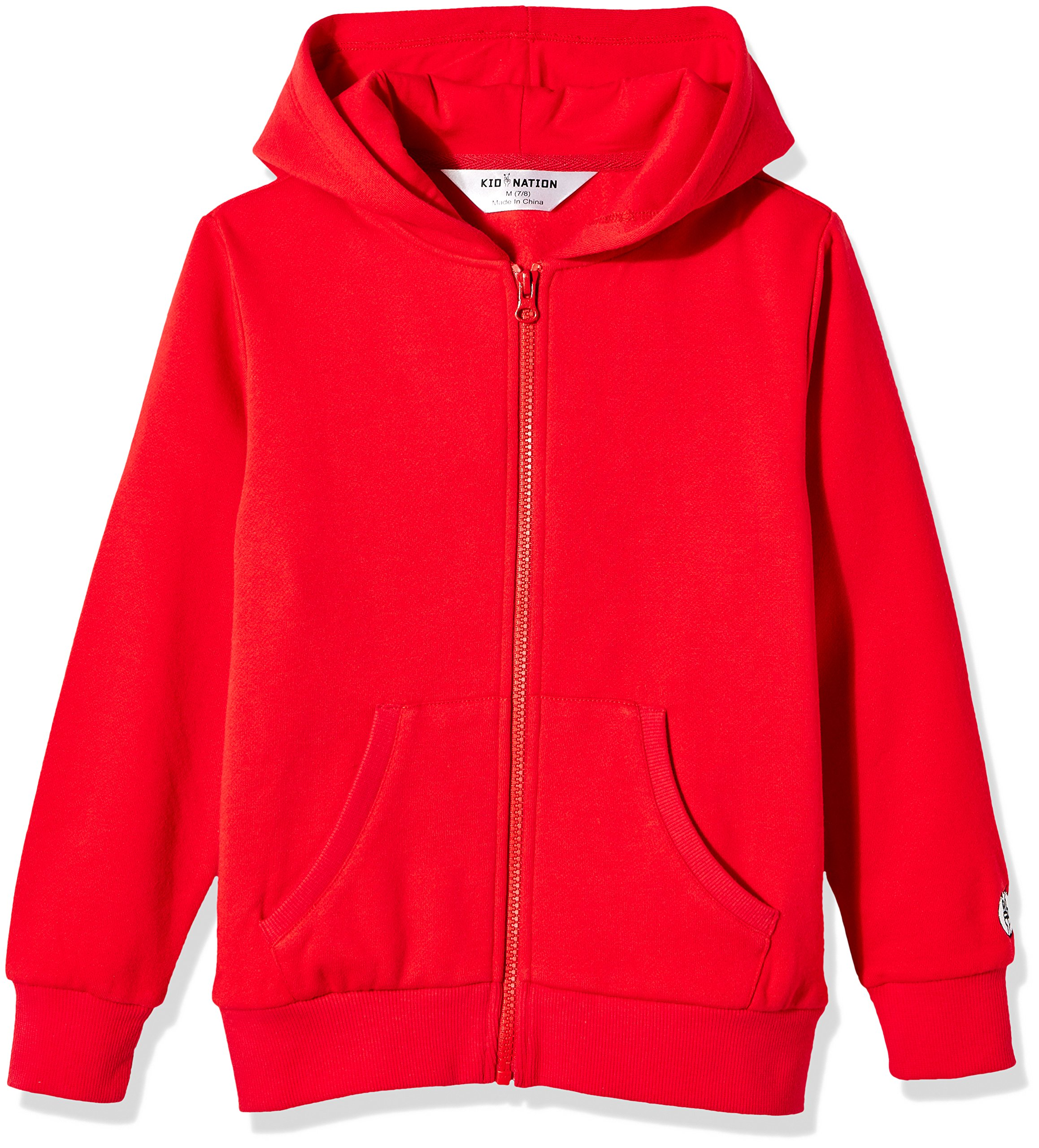 Kid Nation Kids' Brushed Fleece Zip-up Hooded Sweatshirt for Boys Girls S Tomato Red