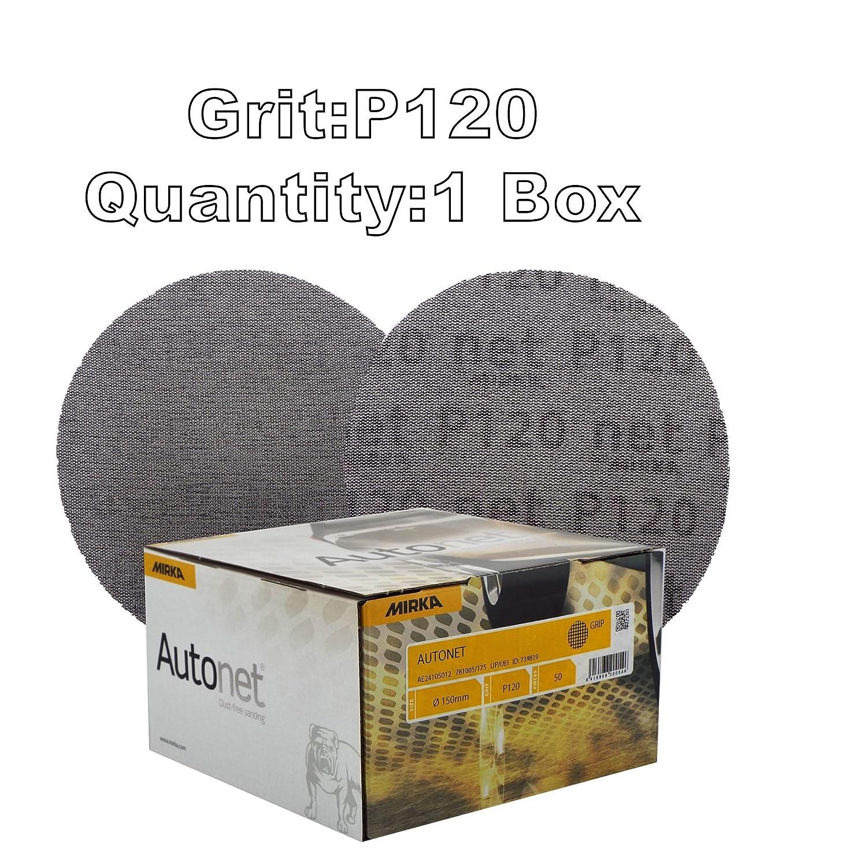 Mirka Autonet 150mm 6' Sanding Mesh Disc P120 Grit 1 Box (50 Discs) Paintwork Dust Extraction For Paint stripping/Removal/Paint Sanding/Lacquers/Plaster/Putty/Plastics/Body filler/Primer/Glass fibre