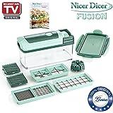 Genius Nicer Dicer Fusion | Set de 10 pièces | vert menthe | Appareil découpe-légumes et découpe-fruits | Nouveau