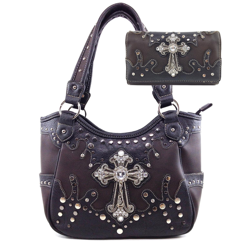 Justin West Cross Studs Concealed Carry Shoulder Handbag Tote Purse Crossbody Wallet