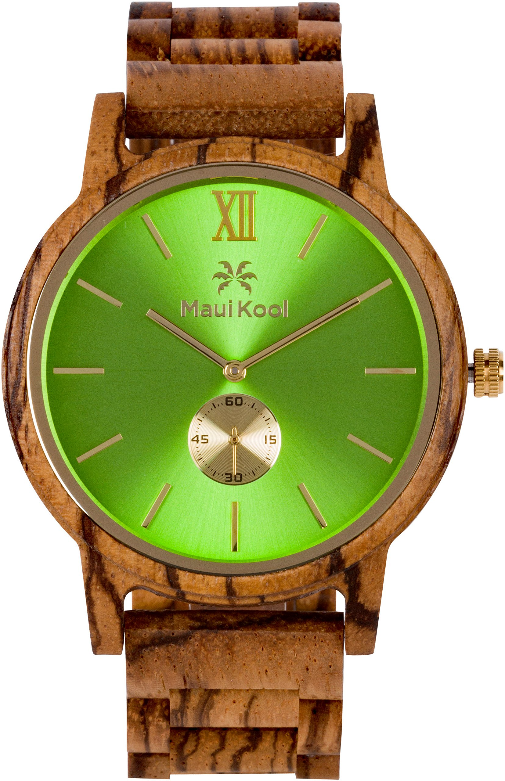 Wooden Watch For Men Maui Kool Kaanapali Collection Analog Large Face Wood Watch Bamboo Gift Box (C6 - Green Face) by Maui Kool (Image #2)