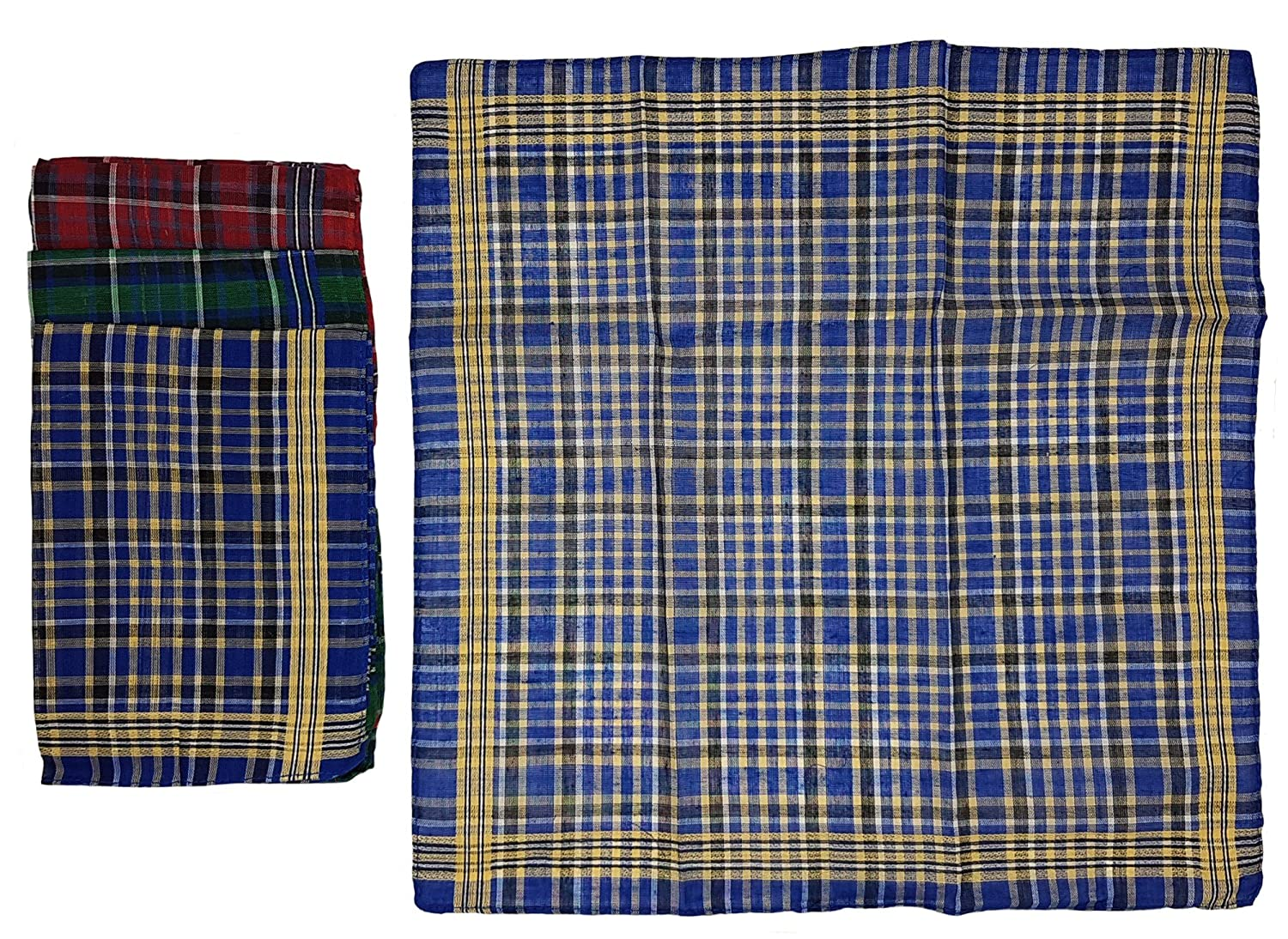 3 colours 100 /% cotton Mens handkerchiefs pack of 12 in striped pattern 40 x 40 cm