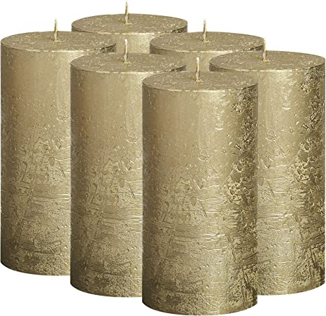 BOLSIUS Rustic Fading Metallic Gold /& Ivory Candles Ivory Candles with a Fading Gold Metallic Coat 130//68m 5X2.75 Wedding Party Perfect D/écor Candle Set of 6 Pillar Candles