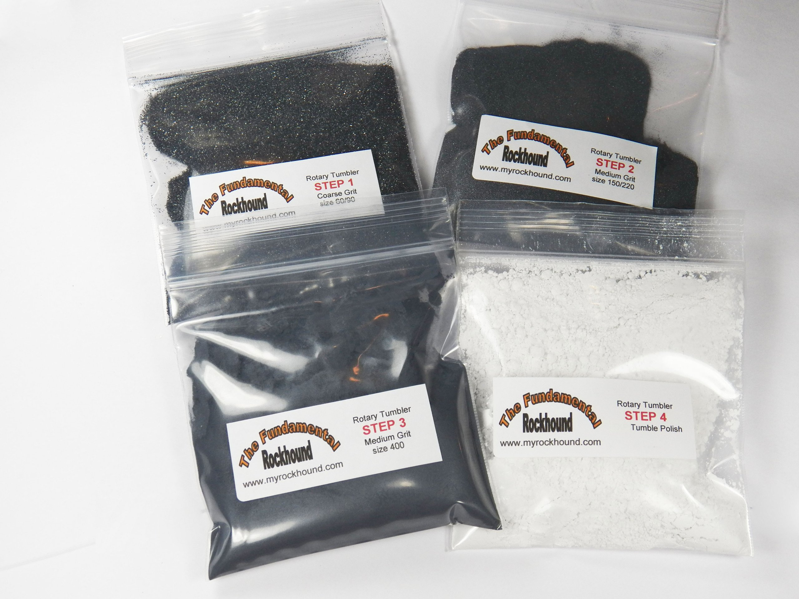 Fundamental Rockhound Products: TEN 4 Step Rock Tumbling GRIT KIT for tumble polishing rocks for 3 pound tumbler Single Use Refill