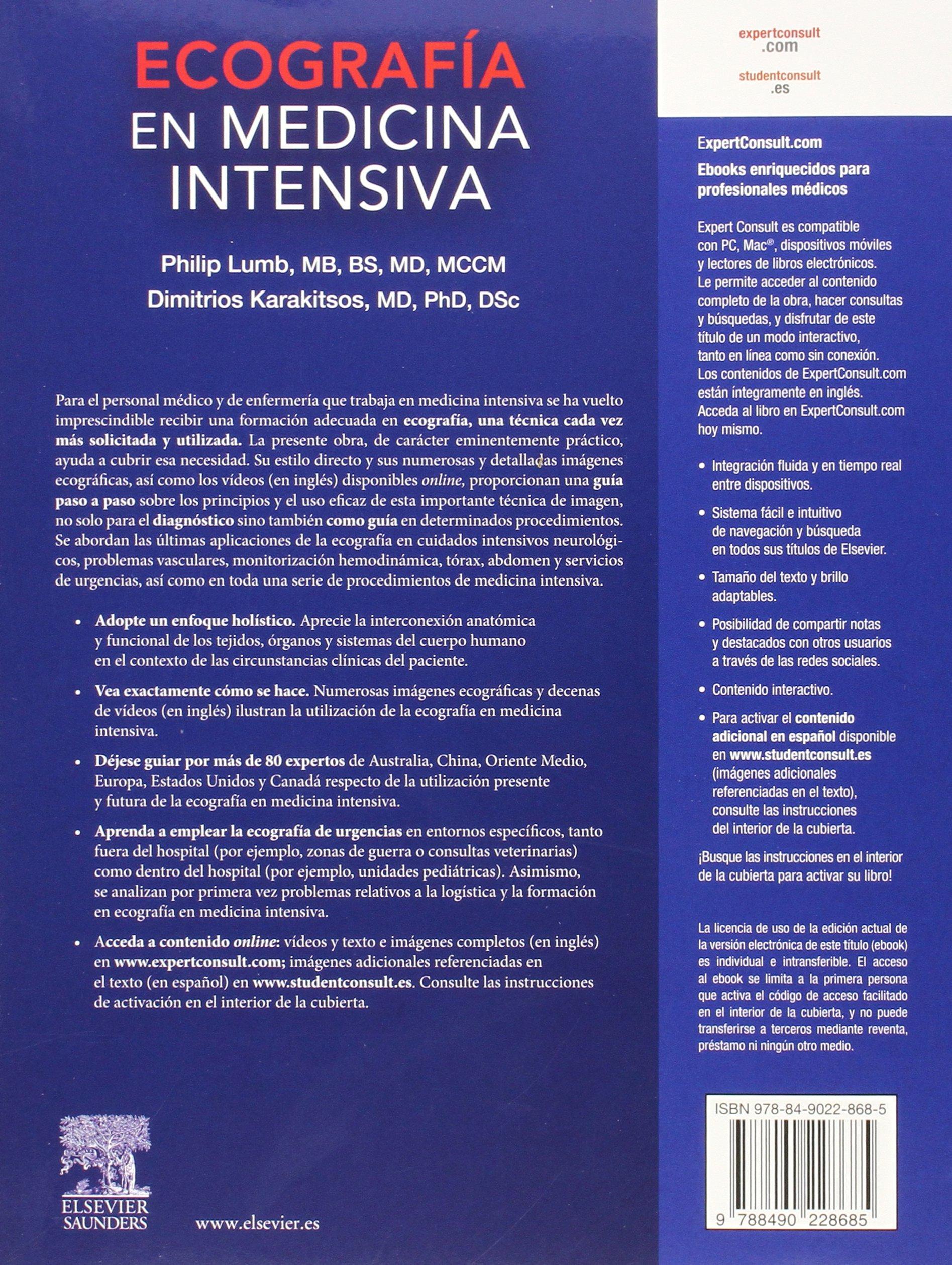 Ecografía En Medicina Intensiva + Acceso Web Y ExpertConsult: Amazon.es: Philip Lumb MB BS, Dimitrios Karakitsos: Libros
