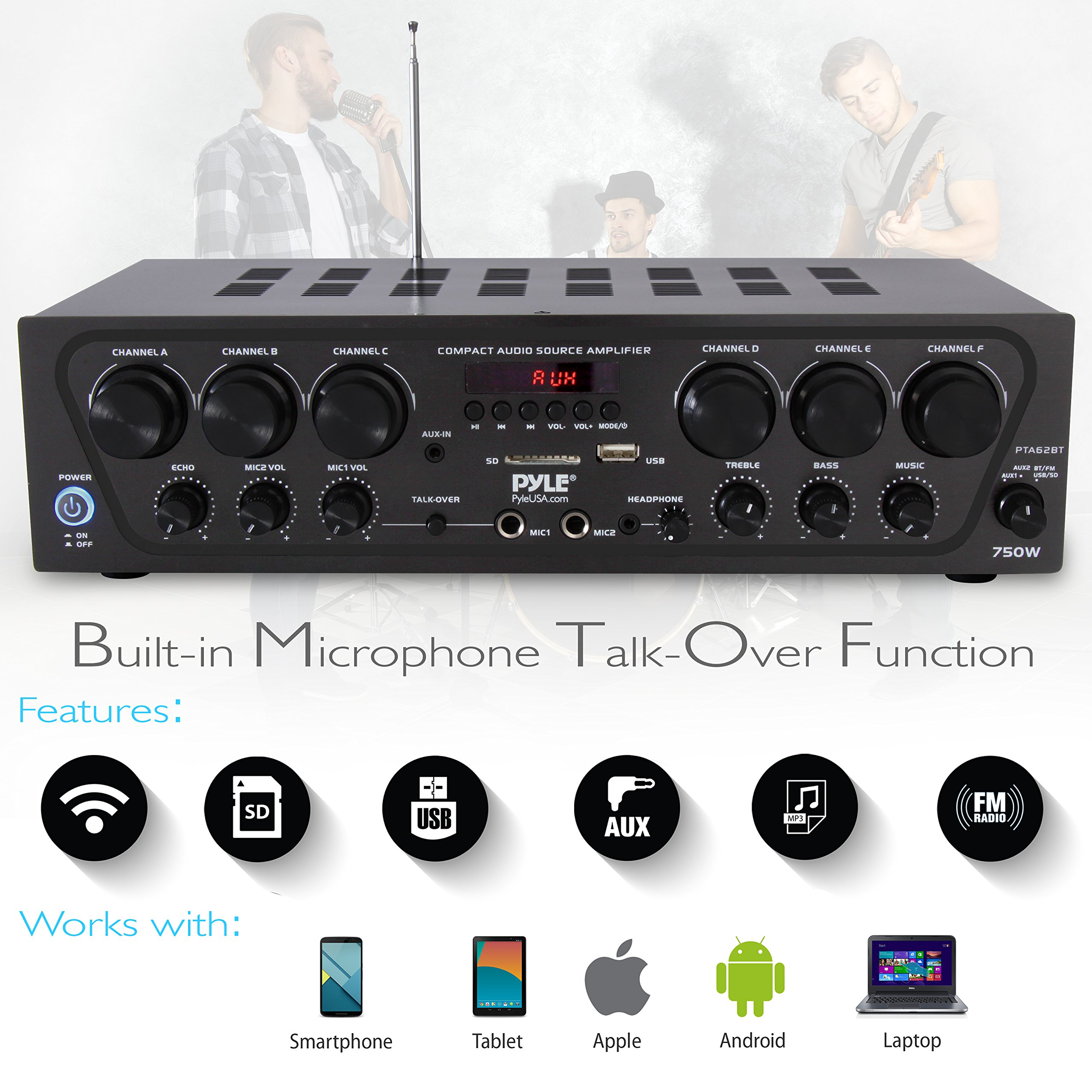 Bluetooth Home Audio Amplifier System - Upgraded 2018 6 Channel 750 Watt Wireless Home Audio Sound Power Stereo Receiver w/ USB, Micro SD, Headphone, 2 Microphone Input w/ Echo, Talkover for PA - Pyle by Pyle (Image #3)