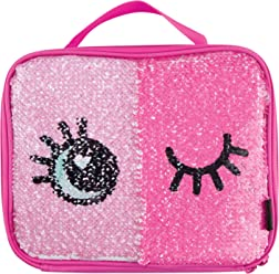02450d8066 Style.Lab by Fashion Angels Magic Sequin Lunch Tote - Winky Eyes Silver Holo