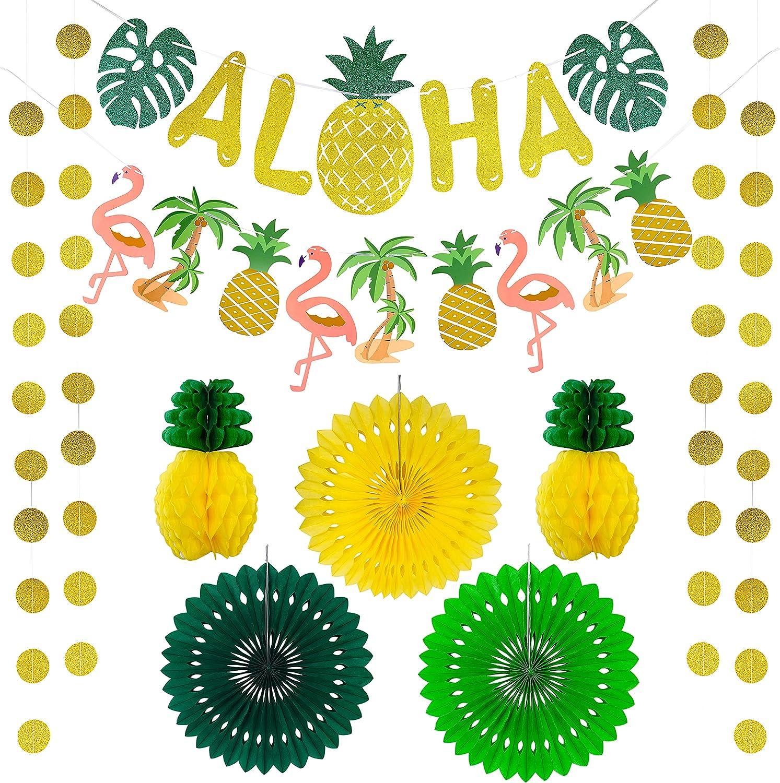 Hawaiian Aloha Party Decorations Banner Set, Flamingo Pineapple Artificial Palm Leaves Garland Tiki Tropical Luau Party Supplies, Hawaiian Themed Summer Beach Pool Party Decor