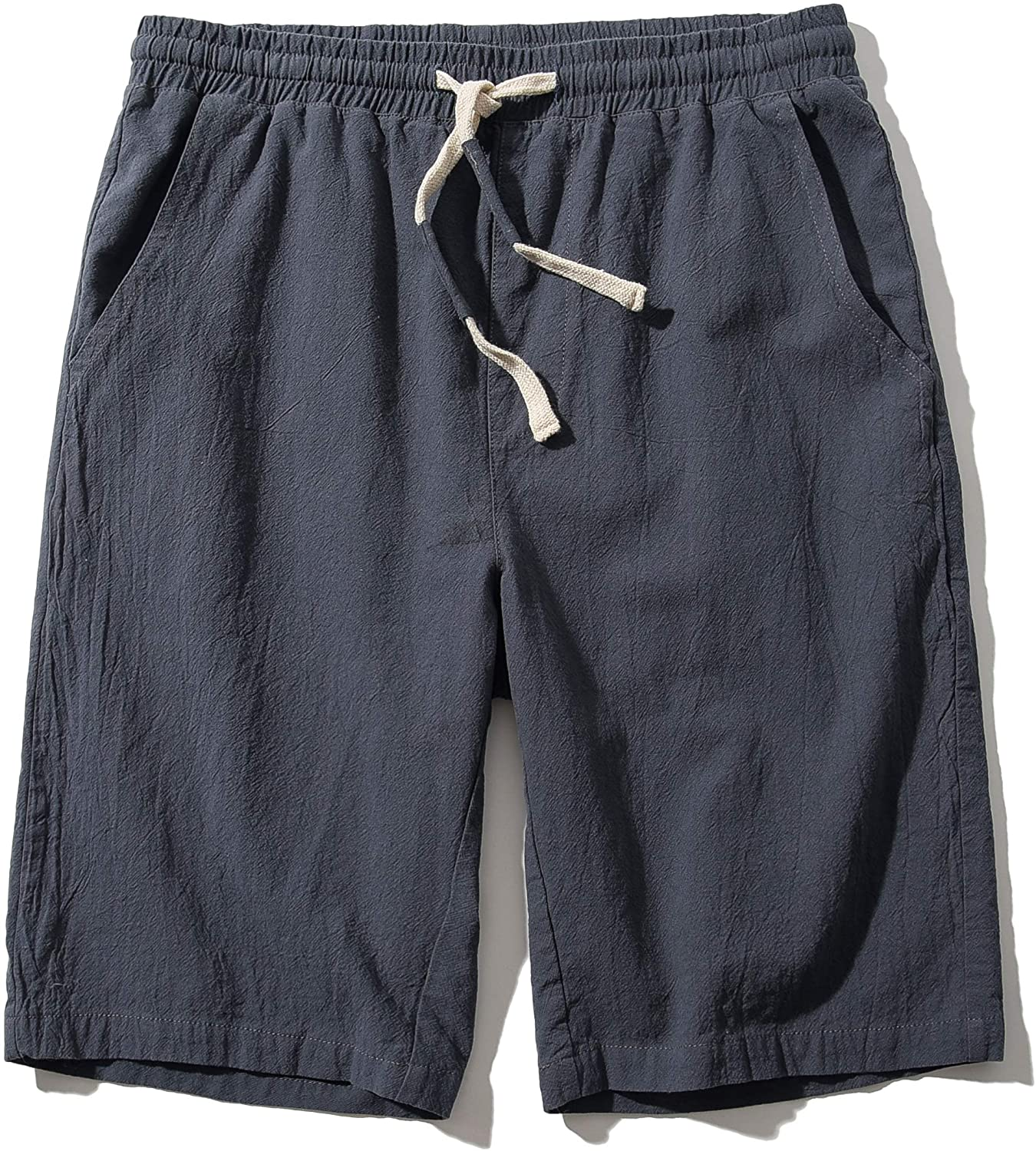 Men's Linen Casual Classic Fit 11 Inch Inseam Elastic Waist Shorts with Drawstring