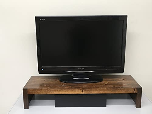 Ideas to Home TV Monitor Riser Stand Modern Rustic Style in Solid Cottonwood 26 w 38 Wide Coffee, 38 Wide